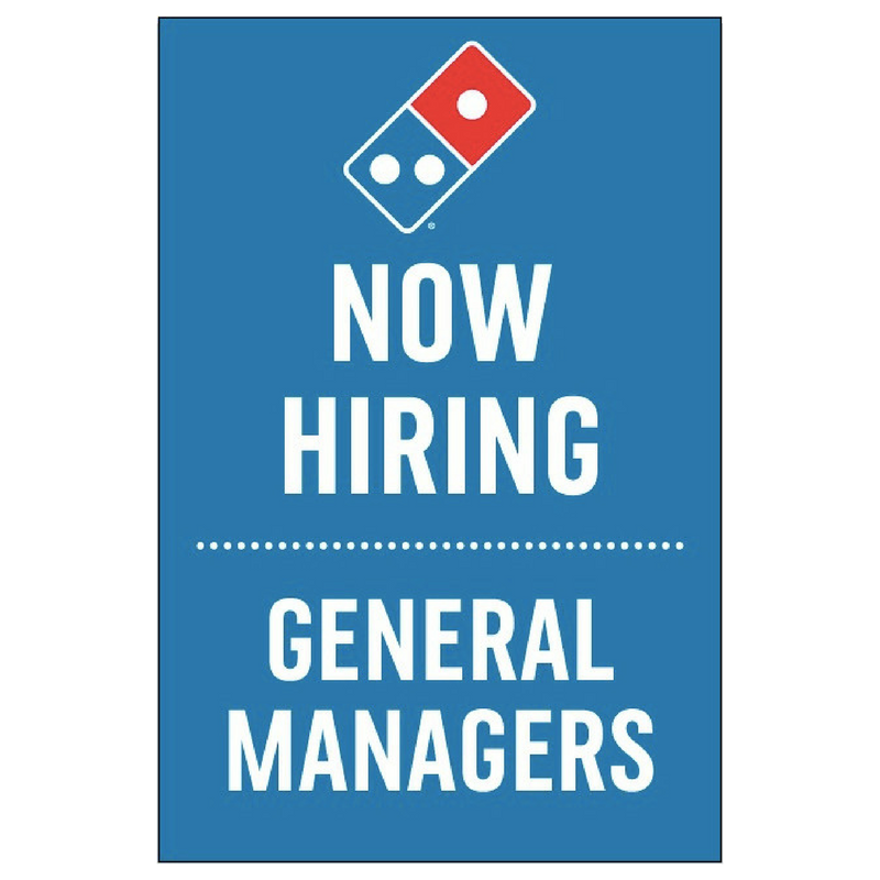 """Now Hiring General Managers"" Vertical Window Cling"