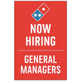 """Now Hiring GM's"" Vertical Window Cling"