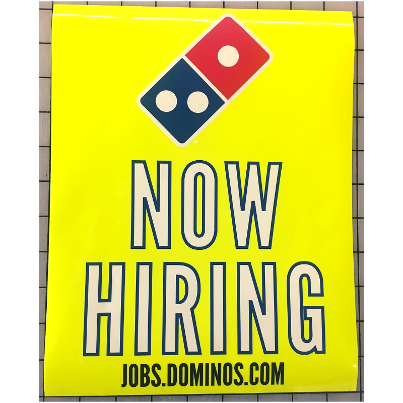NEON Now Hiring Window Graphics