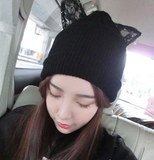 Beanie with Lace Cat Ear with Rhinestone