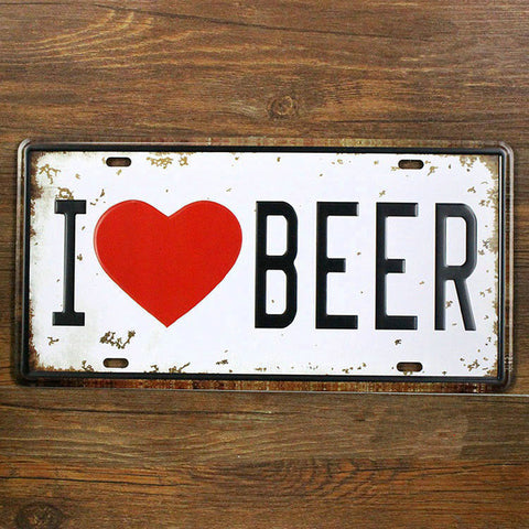 "Plaque murale déco vintage ""I LOVE BEER"""