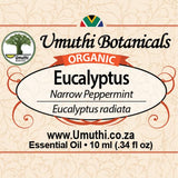ORGANIC EUCALYPTUS Narrow Peppermint 10 ml labe;