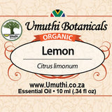 Organic lemon citrus limonium 10ml label
