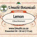 Organic lemon citrus limonium 30ml label