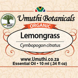 Organic lemongrass cymbopogon citratus 10ml label