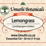 Organic lemongrass cymbopogon citratus 30ml label