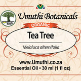Organic tea tree melaluca alternifolia 30ml label