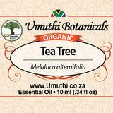 Organic tea tree melaluca alternifolia 10ml label