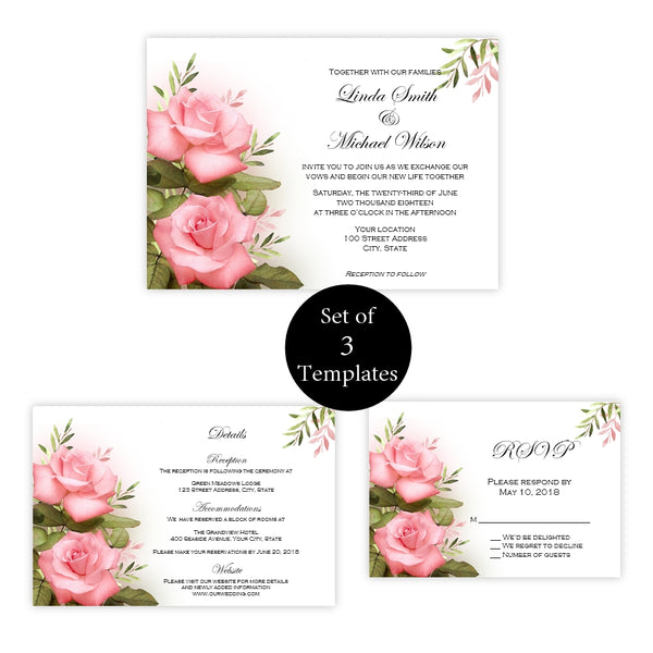 Pastel Pink Roses Wedding Invitation Set