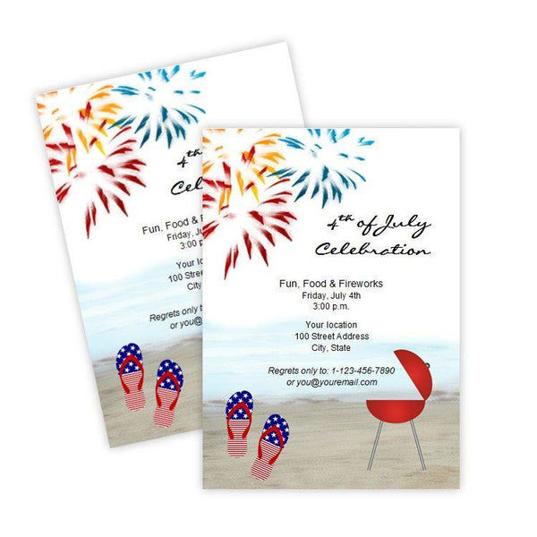4th of July Beach Party Invitation