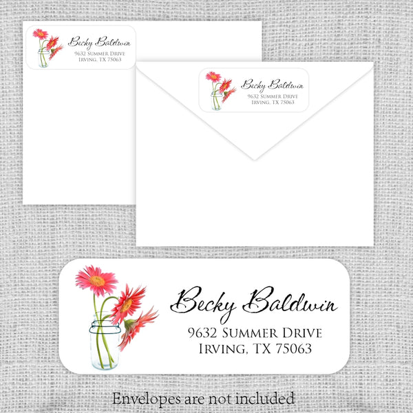 Mason Jar Daisies Return Address Labels