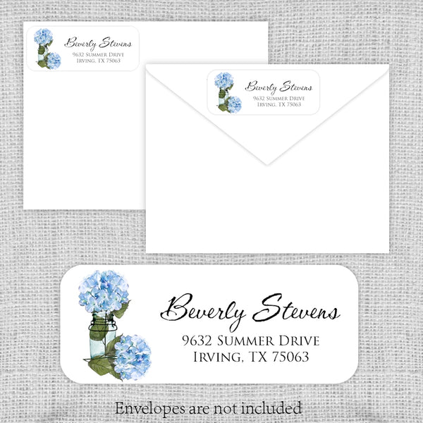 Blue Hydrangeas Return Address Labels