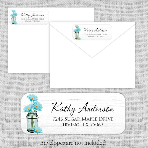 Aqua Daisies Return Address Labels