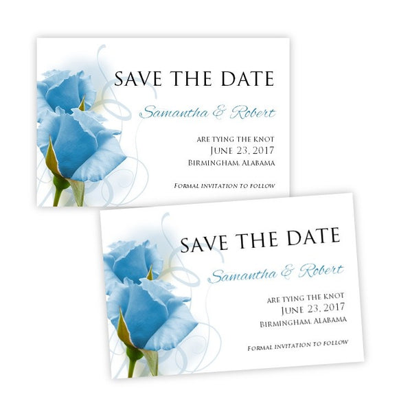 Blue Roses Save the Date Postcard Template