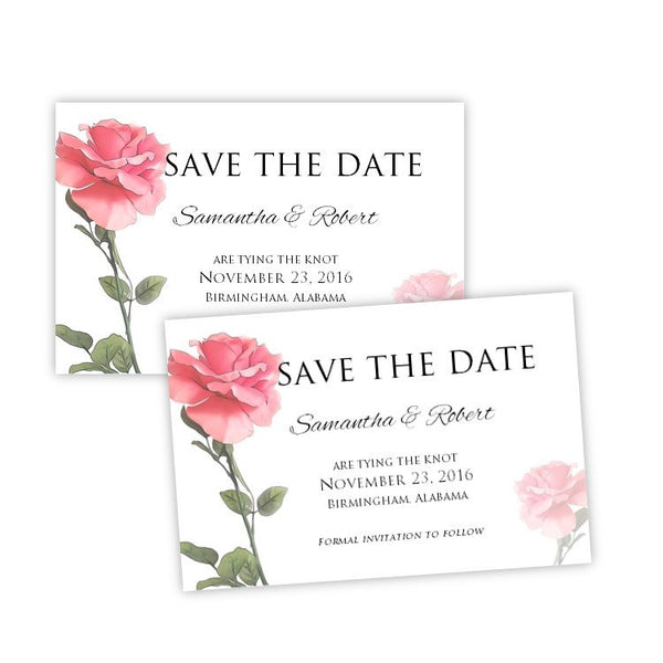 Pink Rose Save the Date Postcard Template