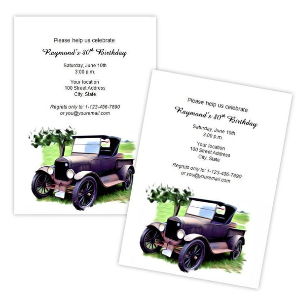 Antique Car Birthday Party Invitation AJs Prints