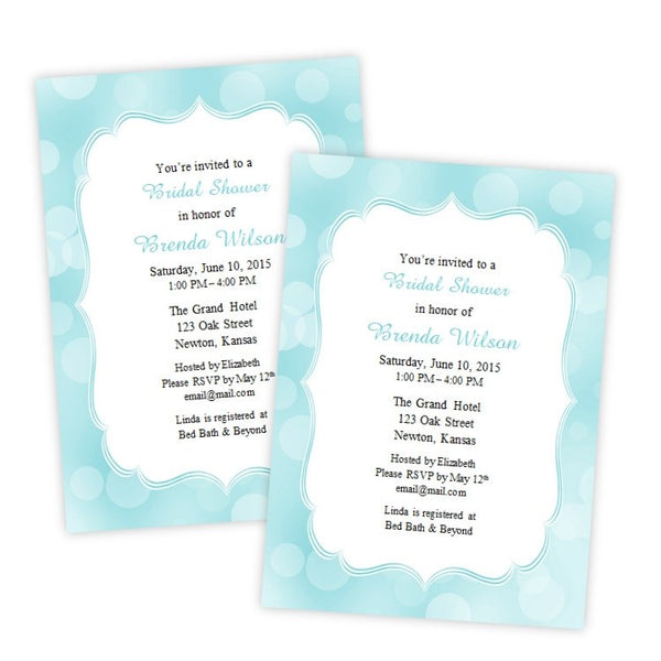 Aqua Bokeh Dots Bridal Shower Invitation Template