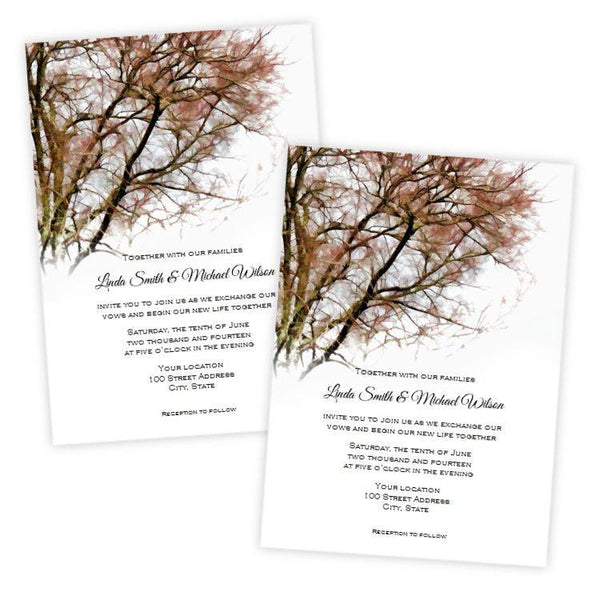 Autumn Tree Branches Wedding Invitation Template