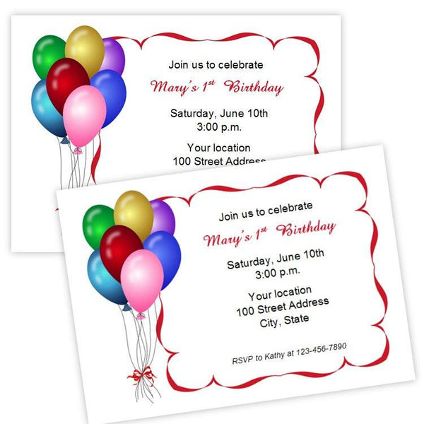 Birthday Party Balloons Invitation