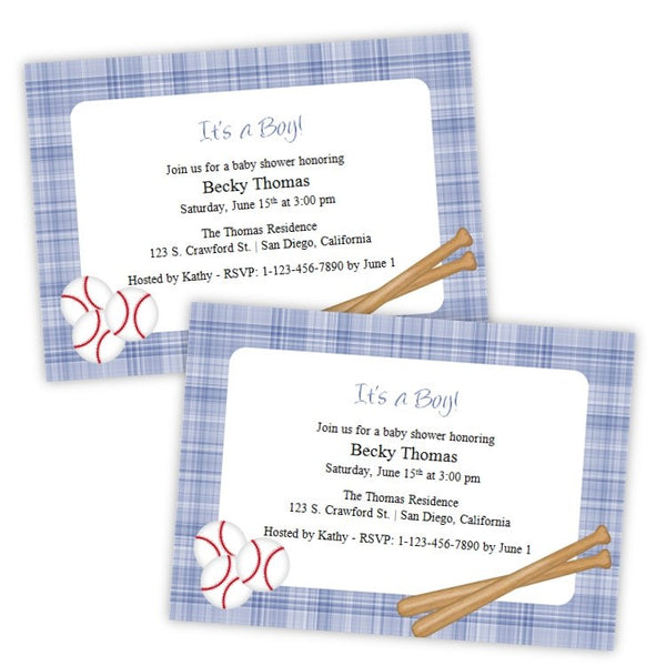 Baseballs & Bats Baby Shower Invitation