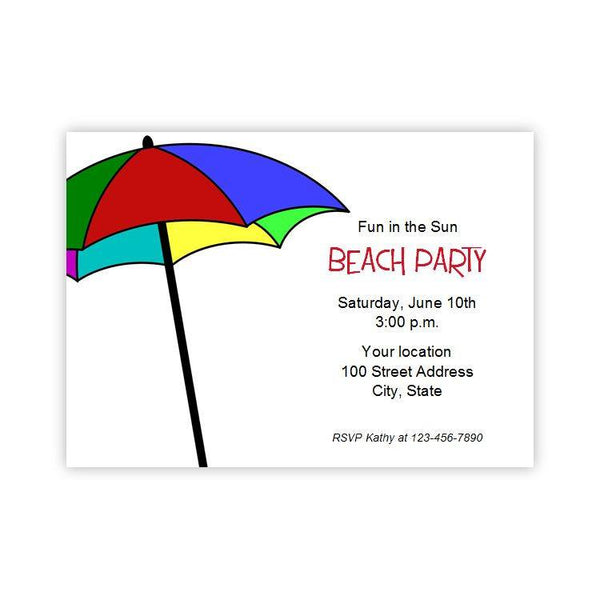 Pool or Beach Umbrella Party Invitation Template