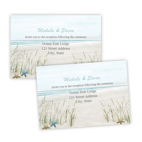 Summer Fun Beach Wedding Reception Card