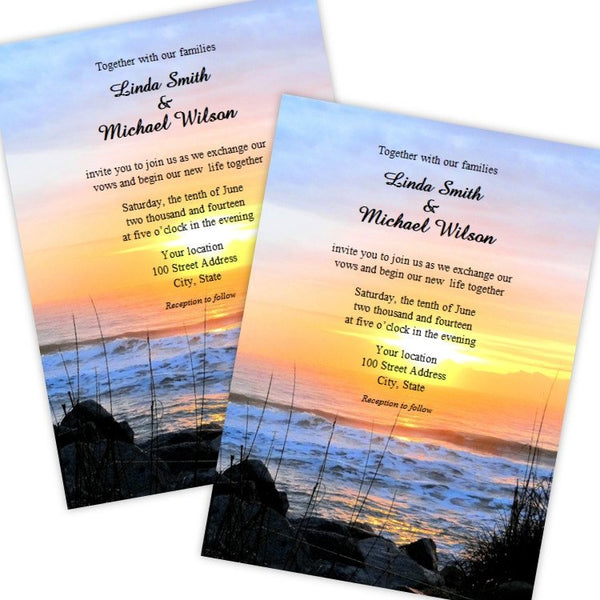 Beach Sunset Wedding Invitation Template