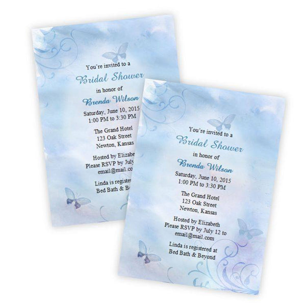 Blue Butterflies Bridal Shower Invitation