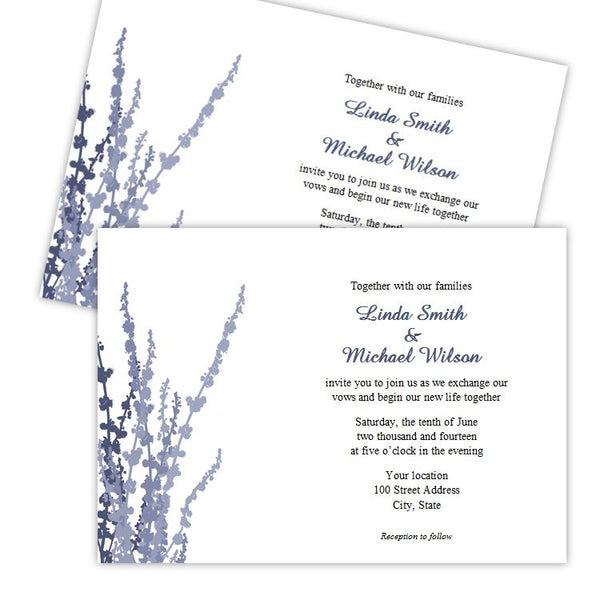 Steel Blue Foliage Wedding Invitation Template