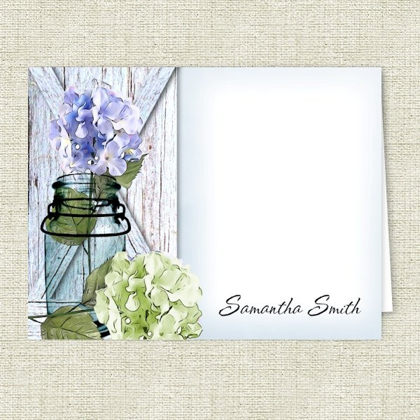 Hydrangea Flowers in a Mason Jar Personalized Note Cards