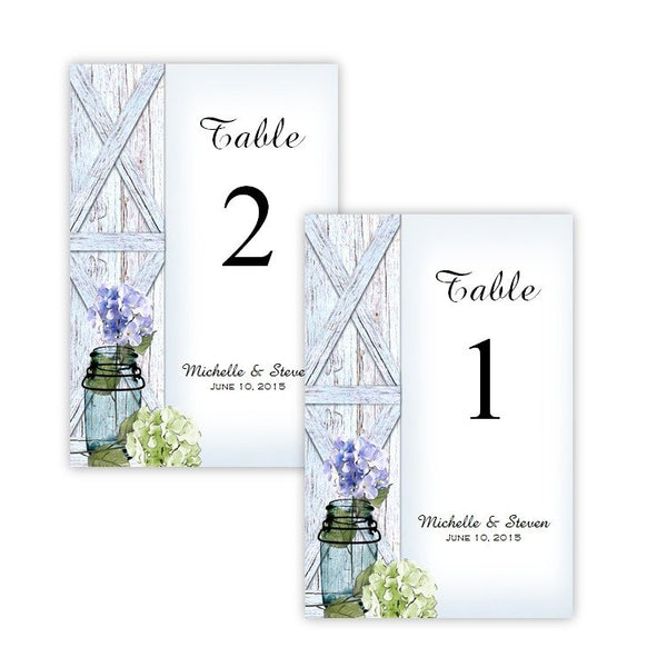 Hydrangeas in a Mason Jar Table Number Template