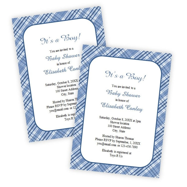 Blue Plaid Baby Shower Invitation