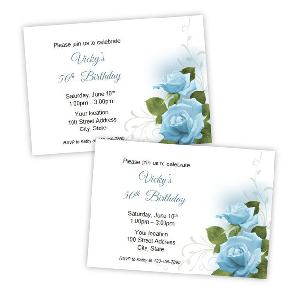 Romantic Blue Roses Birthday Invitation Template