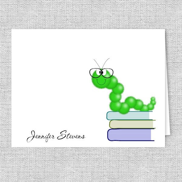 Book Worm Personalized Printed Note Cards