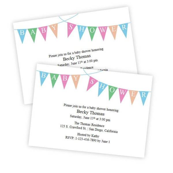 Bunting Banner Baby Shower Invitation