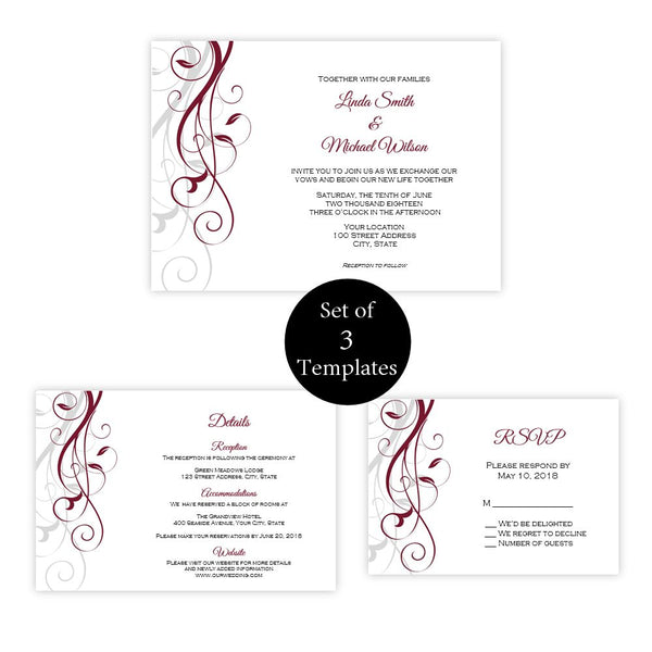 Burgundy Swirls Wedding Suite