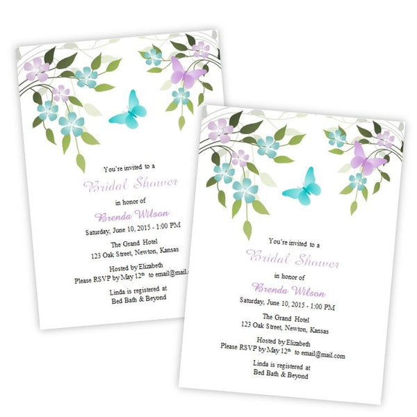Butterfies & Flowers Bridal Shower Template