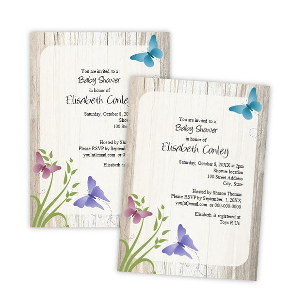 Whimsical Butterflies Baby Shower Invitation
