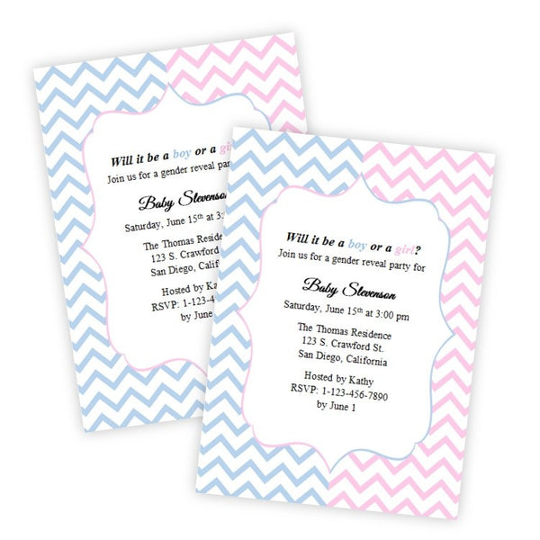 Pink & Blue Chevron Gender Reveal Baby Shower Invitation