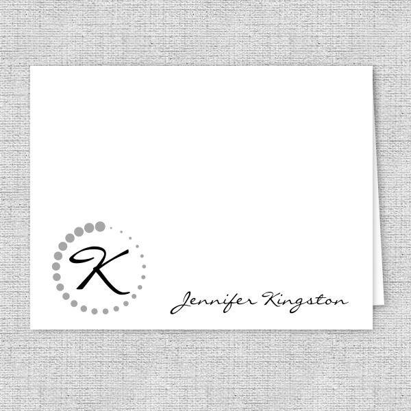 Monogram Dots Personalized Note Cards