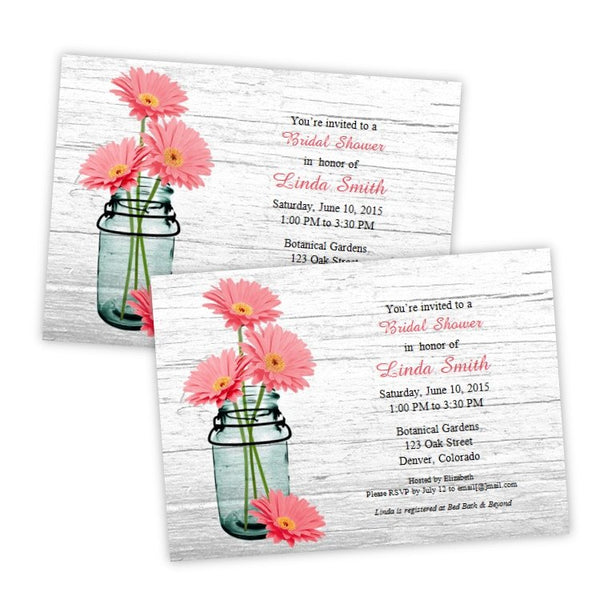 Coral Daisies in a Mason Jar Bridal Shower Invitation