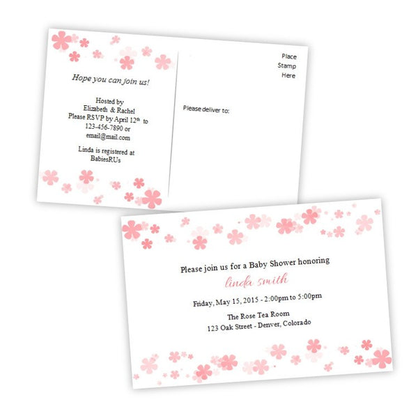 Coral Flowers Baby Shower Invitation Postcard