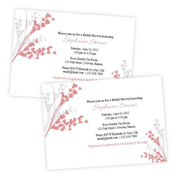 Coral & Gray Foliage Bridal Shower Invitation