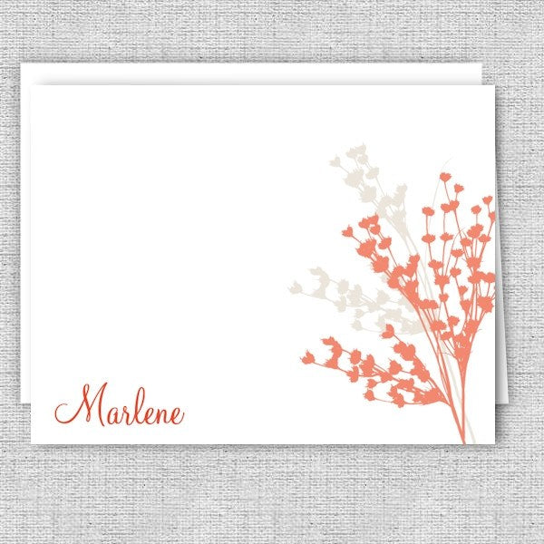 Coral and Beige Floral Personalized Note Cards