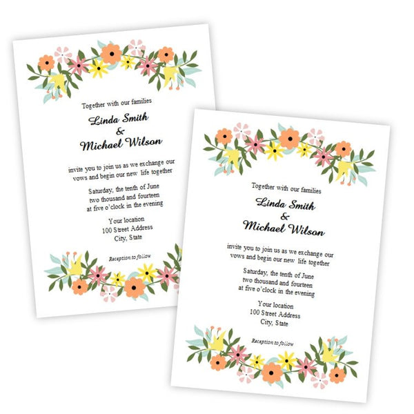Country Flowers Wedding Invitation Template