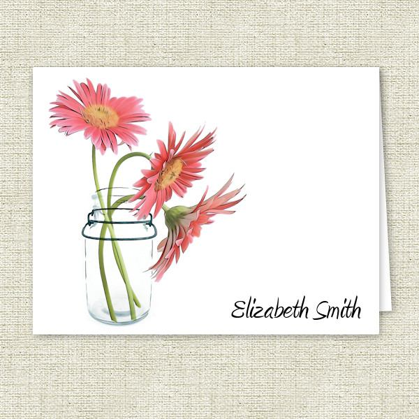 Mason Jar Daisies Personalized Note Cards