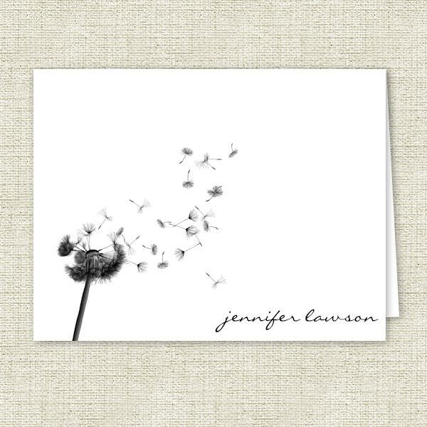 Dandelion Silhouette Personalized Note Cards