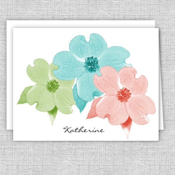 Dogwood Flowers Personalized Note Cards