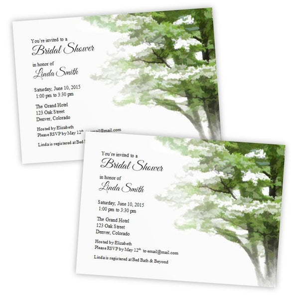 Painted Dogwood Tree Bridal Shower Template