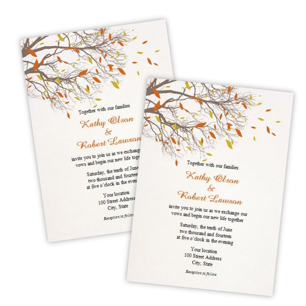 Fall Branches Wedding Invitation Template